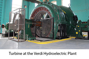 Photo of power generation turbine at the Verdi Hydroelectric Plant