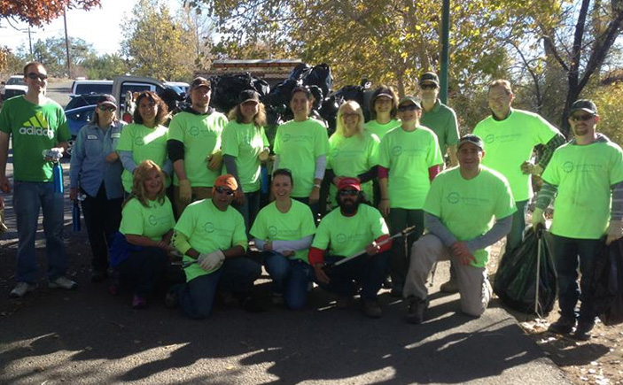 "TMWA's staff at an ""Adopt-a-River"" cleanup event."